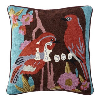 Handmade Chainstitch Parrots Cushion Cover (India)