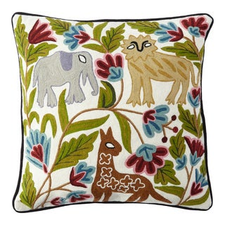 Handmade Chainstitch Wildlife Cushion Cover (India)