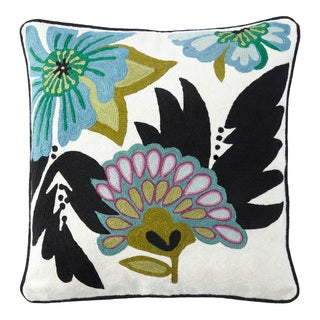Handmade Chainstitch Floral Designer Cushion Cover (India)
