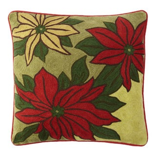 Handmade Chainstitch Pointsettia Designer Cushion Cover (India)