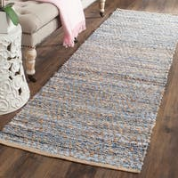 Safavieh Cape Cod Handmade Natural / Blue Jute Natural Fiber Rug - 2'3 x 12'