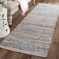 Safavieh Cape Cod Handmade Natural / Blue Jute Natural Fiber Rug (2'3 x 12')