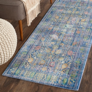 Safavieh Valencia Blue/ Multi Distressed Silky Polyester Rug (2'3 x 10')