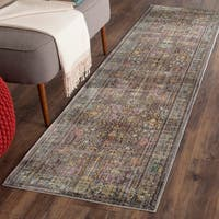 Safavieh Valencia Grey/ Multi Distressed Silky Polyester Rug - 2'3 x 10'