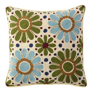 Handmade Chainstitch Flower Power Cushion Cover (India)