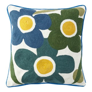Handmade Chainstitch Flower Burst Cushion Cover (India)