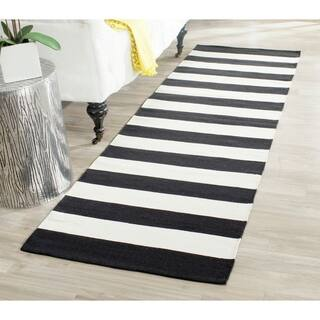 Safavieh Hand Woven Montauk Black Ivory Cotton Rug 2 3