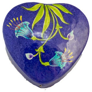 Handcrafted Kashmiri Lacquered Trinket Heart Box (India)