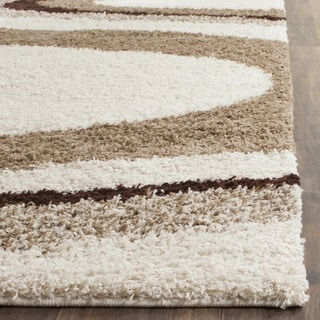 Safavieh Contemporary Shag Ivory/ Brown Runner (2'3 x 9')