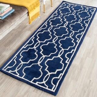 Safavieh Handmade Moroccan Chatham Dark Blue/ Ivory Wool Rug (2'3 x 9')