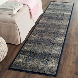 Safavieh Persian Garden Vintage Navy/ Ivory Distressed Silky Viscose Rug (2'2 x 8')