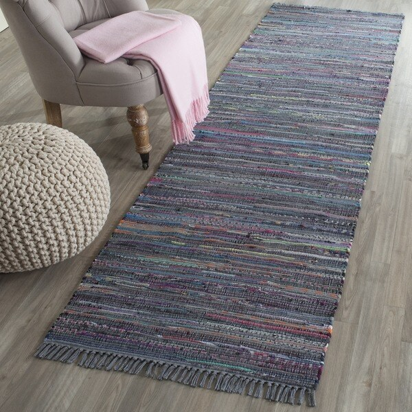 Woven Cotton Rag Rug Runner: Safavieh Hand-Woven Rag Rug Aqua/ Multi Cotton Rug