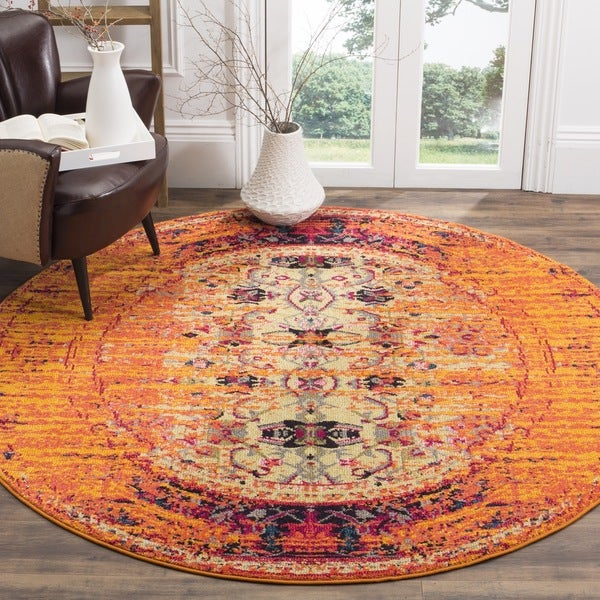 Safavieh Monaco Vintage Distressed Orange/ Multi Distressed Rug (6'7 Round)
