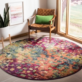 Safavieh Monaco Abstract Watercolor Pink/ Multi Rug (6'7 Round)