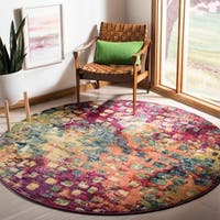 Safavieh Monaco Abstract Watercolor Pink/ Multi Distressed Rug - 6'7 Round
