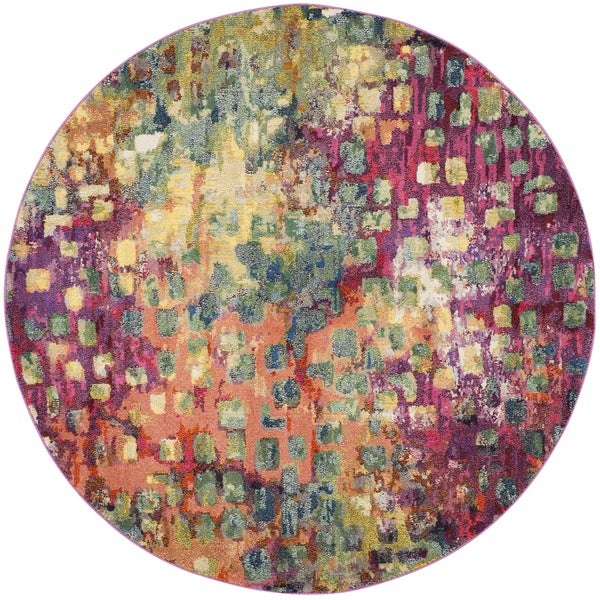 Safavieh Monaco Abstract Watercolor Pink/ Multi Distressed Rug (6'7 Round)