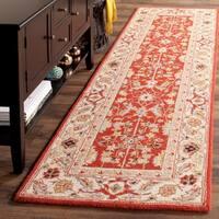 Safavieh Hand-Hooked Chelsea Red/ Ivory Wool Rug - 2'6 x 8'