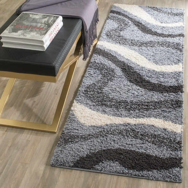 Safavieh Contemporary Shag Grey/ Ivory Runner (2'3 x 7')