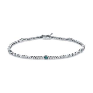 Auriya 14k White Gold 1ct TDW Round Blue and White Diamond Tennis Bracelet (H-I, I1-I2)