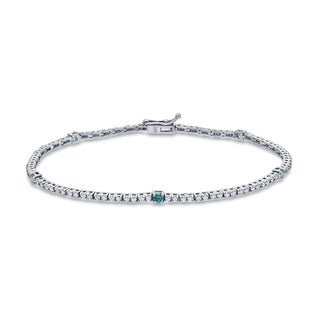 Auriya 14k White Gold 1ct TDW Round Blue and White Diamond Tennis Bracelet