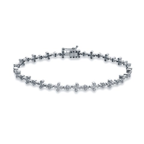 Auriya 14k White Gold 3/4ct TDW Round Cut Diamond Bracelet