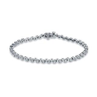 Auriya 14k White Gold 2ct TDW Round Cut Diamond Link Tennis Bracelet