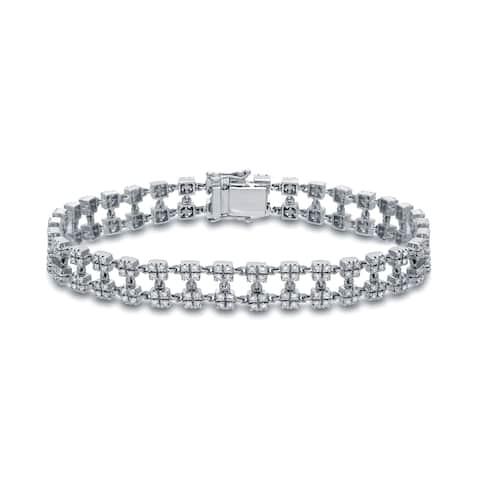 Auriya Unique 2ctw Diamond Link Tennis Bracelet 14K White Gold - 7-inch