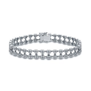 Auriya 14k White Gold 2ct TDW Round Double Row Diamond Tennis Bracelet