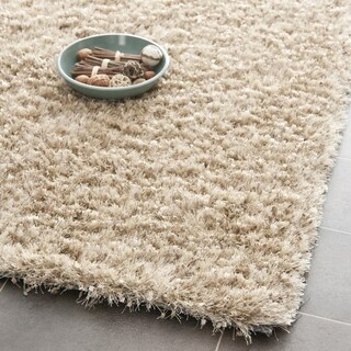 Safavieh Handmade Malibu Shag Natural Beige Polyester Rug (5' x 5')