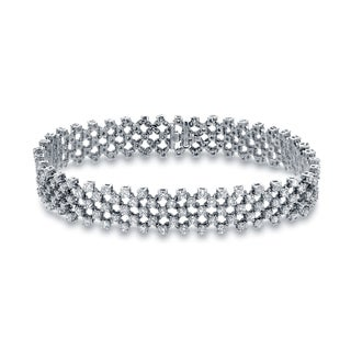 Auriya 14k White Gold 6ct TDW Round Cut Diamond Multi-Row Bracelet (H-I, SI2-SI3)