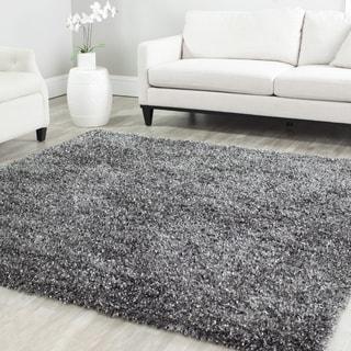 Safavieh Handmade Malibu Shag Charcoal Grey Polyester Rug (5' x 5' Square)