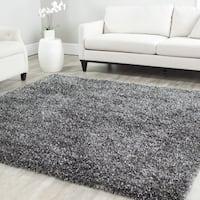 Safavieh Handmade Malibu Shag Charcoal Grey Polyester Rug - 5' x 5' square