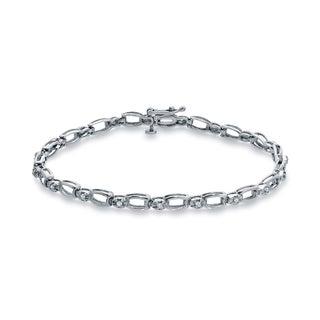 Auriya 1/5ct TDW Round Diamond Silver Bracelet