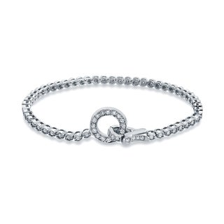 Auriya 14k White Gold 1 1/2ct TDW Round Cut Diamond Tennis Bracelet (H-I, I1-I2)