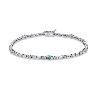 Auriya 14k White Gold 2ct TDW Round Blue and White Diamond Tennis Bracelet
