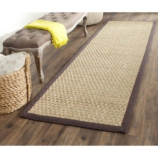 Safavieh Casual Natural Fiber Natural and Dark Brown Border Seagrass Runner (2'6 x 6')