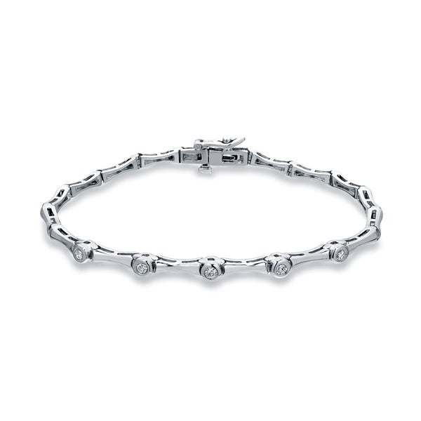Auriya 1/4ctw Round Diamond Bracelet 14k White Gold - 7-inch. Opens flyout.