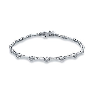 Auriya 14k White Gold 1/4ct TDW Round Cut Diamond Bracelet (H-I, SI2-SI3)