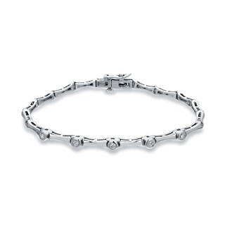 Auriya 14k White Gold 1/4ct TDW Round Diamond Link Tennis Bracelet