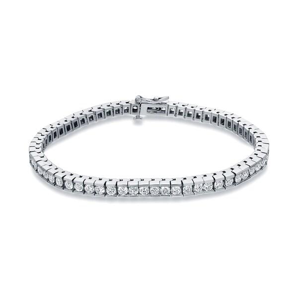 Auriya 5 carat TW Channel-set Diamond Tennis Bracelet 14k White Gold - 7-inch. Opens flyout.