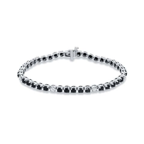 Auriya 14k White Gold 5ct TDW Black and White Diamond Tennis Bracelet