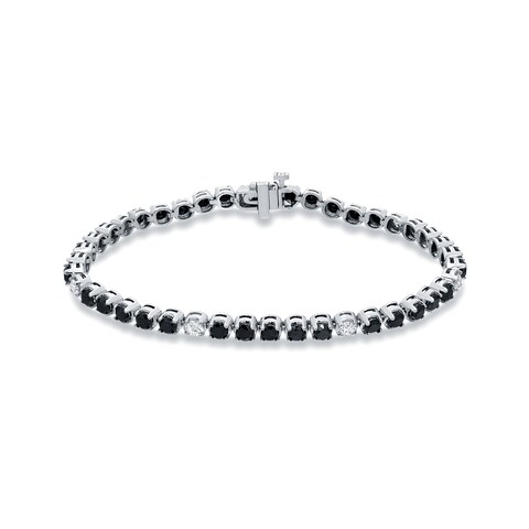 Auriya 14k White Gold 5ct TDW Black and White Diamond Tennis Bracelet