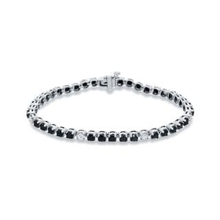 Auriya 14k White Gold 5ct TDW Black and White Diamond Tennis Bracelet (Black, SI2-SI3)