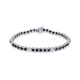 Auriya 14k White Gold 5ct TDW Black and White Diamond Tennis Bracelet (Black)