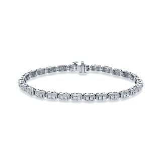 Auriya 10k White Gold 1ct TDW Round Cut Diamond Tennis Bracelet (H-I, SI2-SI3)