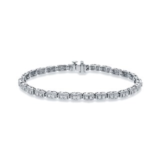 Auriya 10k White Gold 1ct TDW Vintage-Inspired Round Diamond Tennis Bracelet
