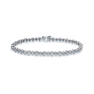 Auriya 18k White Gold 1ct TDW Round Bezel-Set Diamond Bracelet (H-I, SI1-SI2)