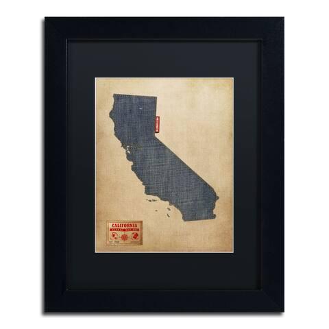 Michael Tompsett 'California Map Denim Jeans Style' Black Matte, Black Framed Wall Art