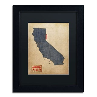 Michael Tompsett 'California Map Denim Jeans Style' Black Matte, Black Framed Wall Art