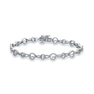 Auriya 14k White Gold 1ct TDW Round Diamond Pave Chain Link Bracelet